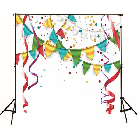 XDDJA Polyester Fabric 5x7ft White Wall Photography Backdrops Coloured Ribbons Shoot Background - image 1 de 2