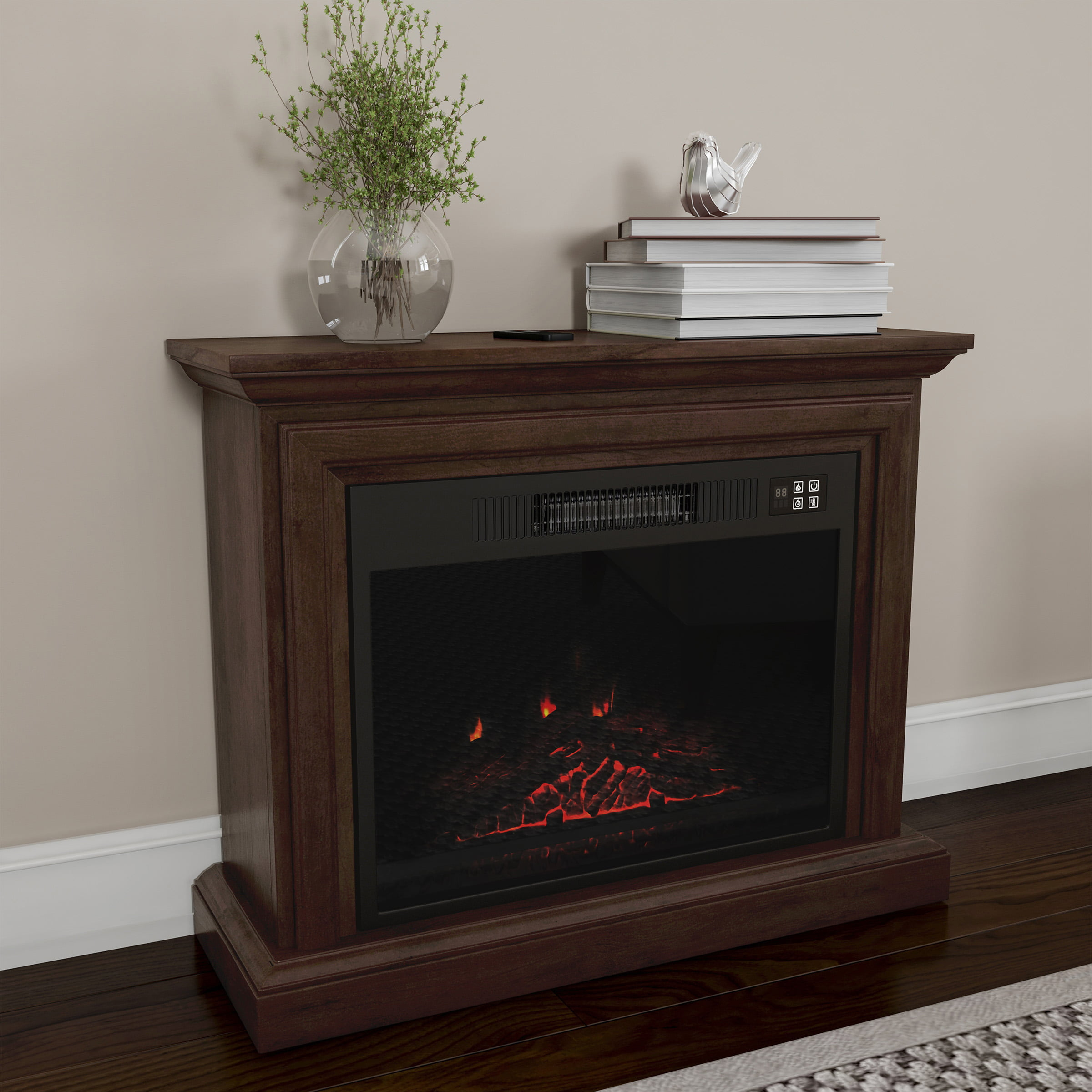 Mobile Electric Fireplace With Mantel Portable Heater On