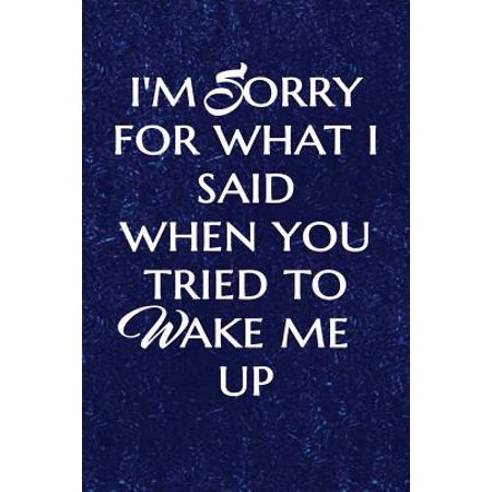 I'm Sorry for What I Said When You Tried to Wake Me