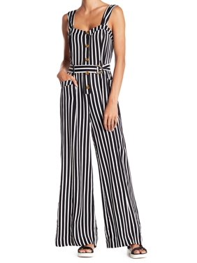 White Womens City Girl Striped Jumpsuit 2