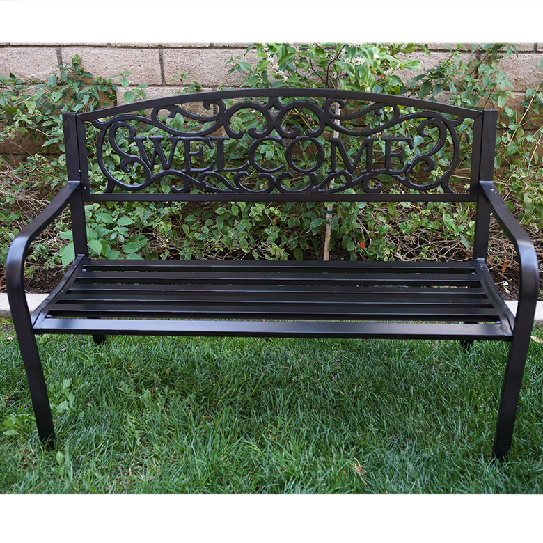 "Belleze 50"" Blossoming Garden Decorative Patio Park Bench, Black by Belleze"