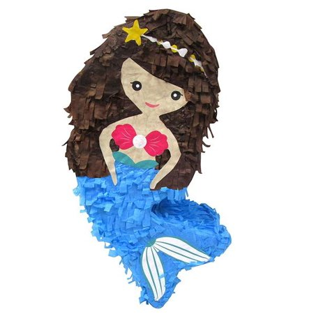 Mermaid Pinata with Blue Tail, 9in x 18in](Little Mermaid Pinatas)