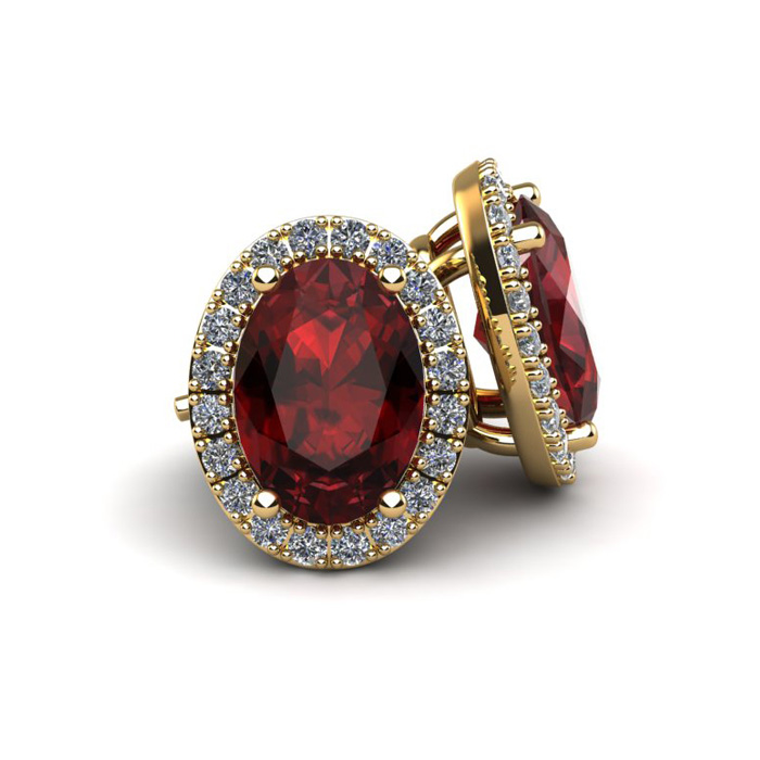 SuperJeweler 1 1/4 Carat Oval Shape Garnet and Halo Diamo...