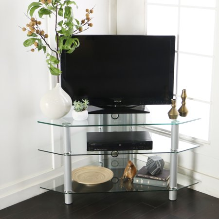 Glass/Metal Corner Clear/Silver TV Stand for TVs up to 48″, Multiple Colors