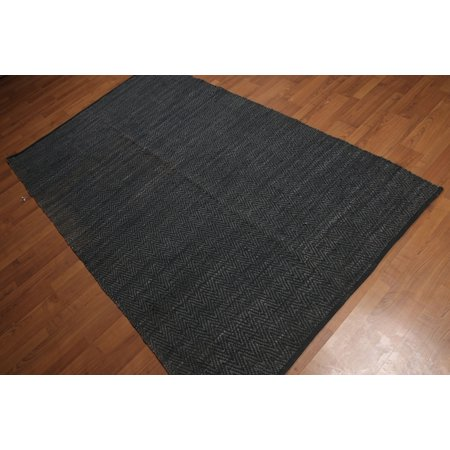 5'x8' Black Charcoal Color Hand Made Flat Pile Reversible Leather Modern Oriental Rug