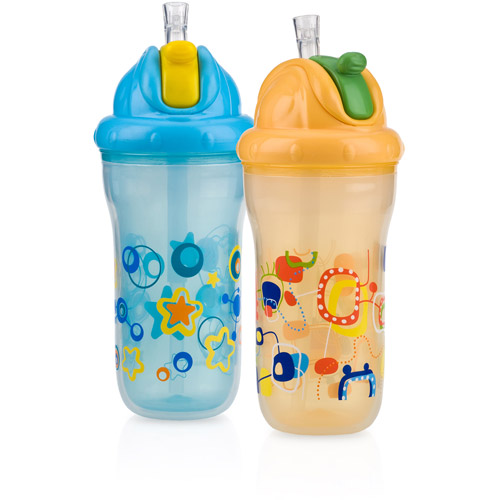 Nuby 2-Pack 9-oz Insulated Flip-It Cup, Neutral, BPA-Free