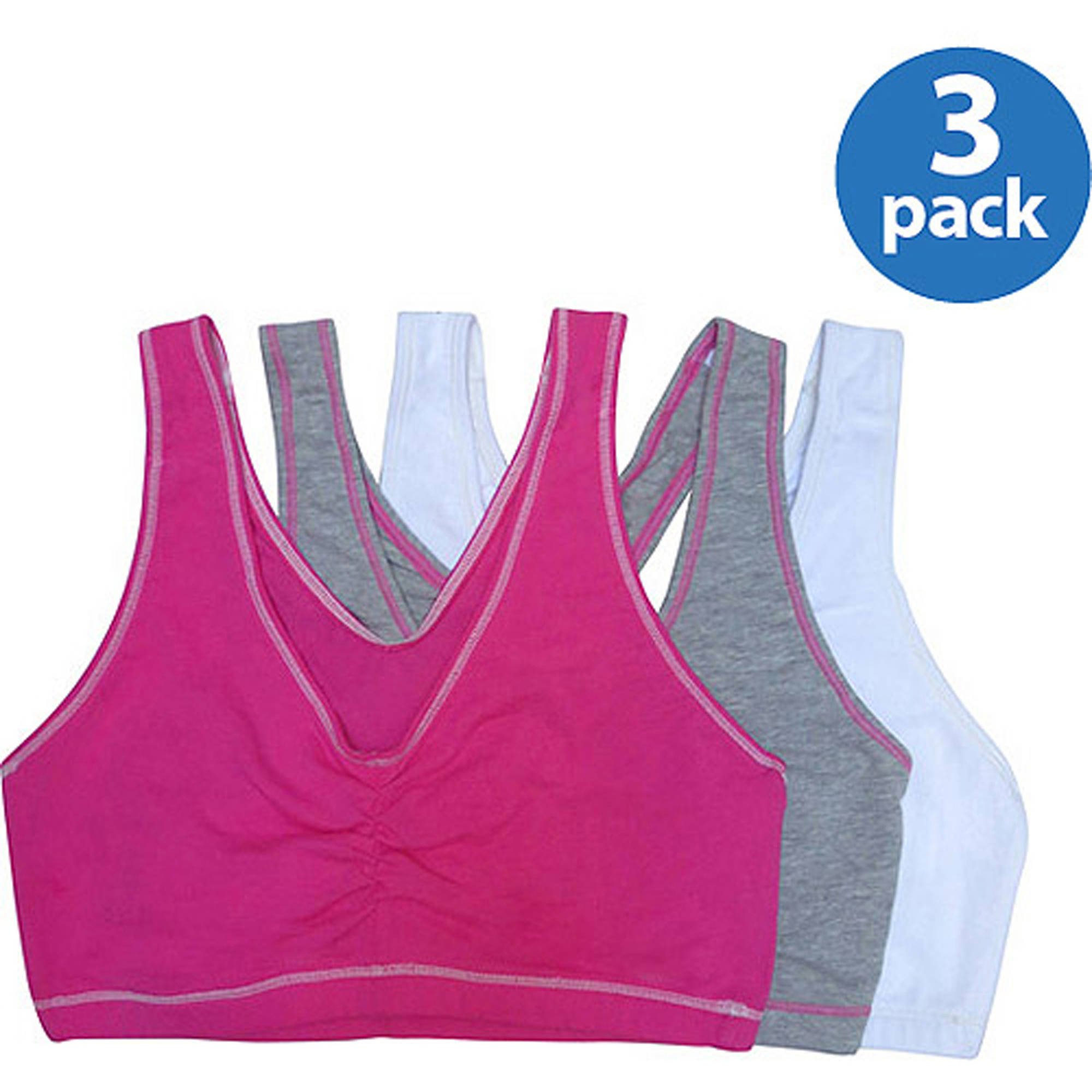 Fruit of the Loom Women's Shirred Front Tank Racerback Sports Bra, Style FT170, 3-Pack