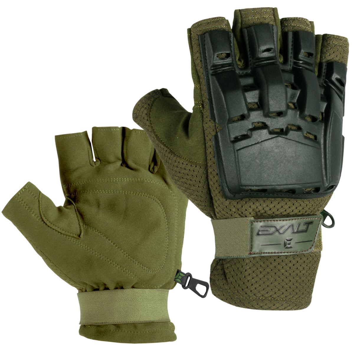 Exalt Paintball Hardshell Gloves - Hard Back Fingerless - Olive
