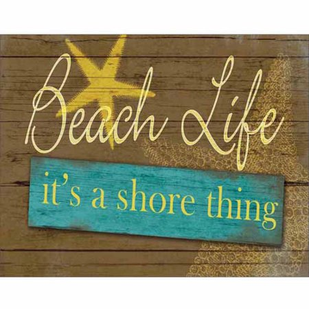 Shore Thing Beach Life Sign Wood Grain Star Fish Coastal Painting Yellow   Blue Canvas Art By Pied Piper Creative