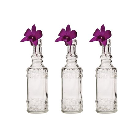 Small Vintage Glass Bottle Set (6.5-Inch, Calista Cylinder Design, Clear, Set of 3) - Flower Bud Vase Set - For Home Decor and Wedding Centerpieces