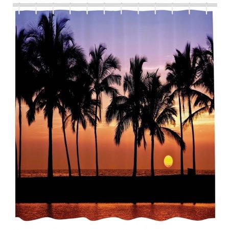 Hawaiian Shower Curtain, Hawaiian Sunset on Big Island Anaehoomalu Bay Ocean Romantic Resort, Fabric Bathroom Set with Hooks, Lilac Dark Orange Black, by Ambesonne