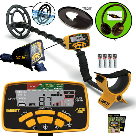 Garrett ACE 300 Metal Detector with Waterproof Search Coil, Coil Cover, Control Housing Cover, Headphones (Metal Housing)