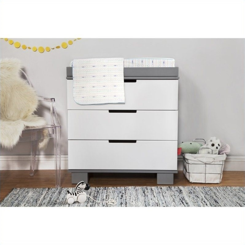 Babyletto Modo 3 Drawer Changing Table Dresser In White U0026 Grey