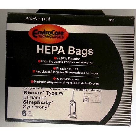 Riccar Type W And Brilliance Simplicity Synchrony Hepa Vacuum Bags 6 Pk  By Envirocare