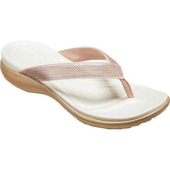 792ea72dbd3d79 Microfiber lining Deep heel cup Dual Crocs Comfort  foam footbed on top of  Croslite foam outsole. Women s Crocs Capri V Sequin Thong Sandal