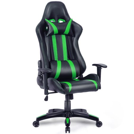 Costway Executive Racing Style High Back Reclining Chair Gaming Chair Office Computer (Black+Green)