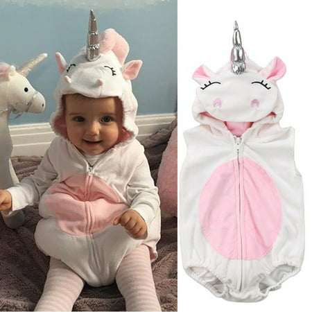 Fashion Costume Newborn Unicorn Baby Girls Unicorn Romper Jumpsuit Jumper Outfits Hooded Clothes New