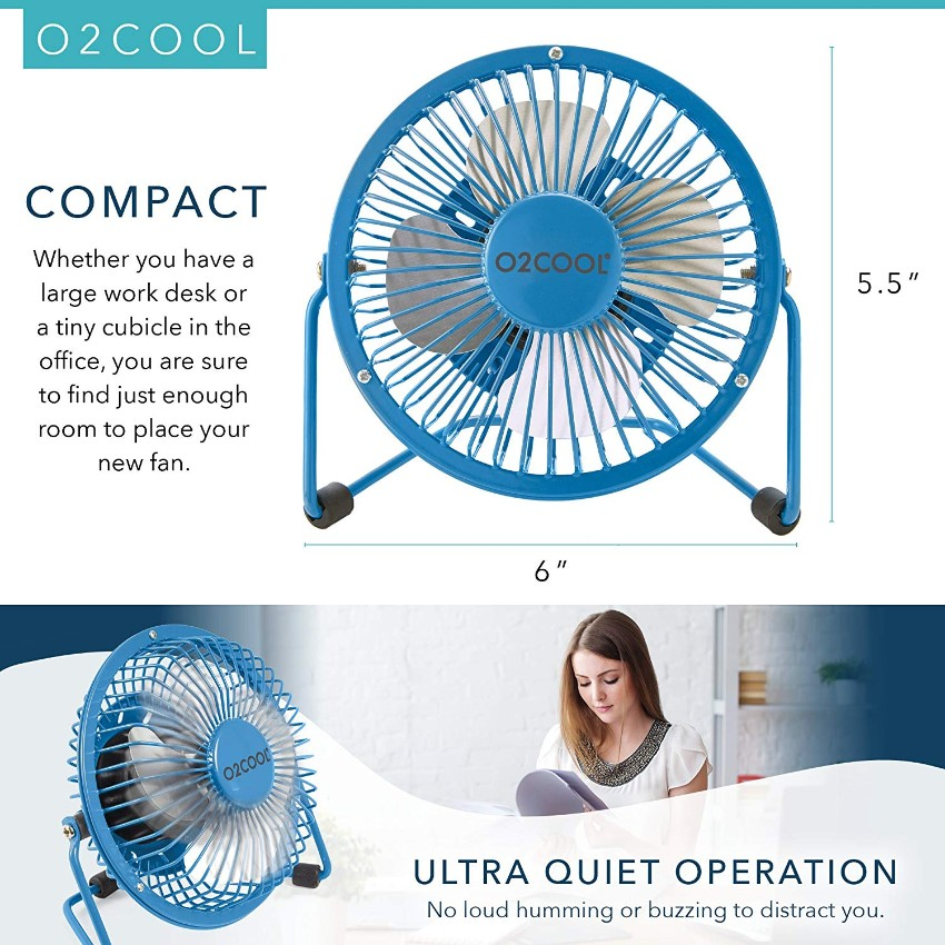Glorytrack 4 inch Desk Fan USB Mini Portable Quiet Powered Computer PC Mac Laptop Cooling Table Fan for Work Home School Travel Office