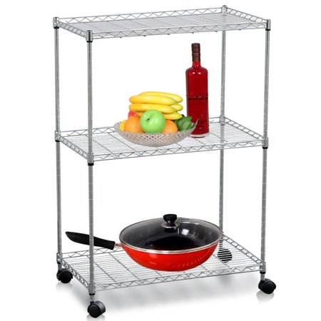 Yaheetech 3 Tier Metal Utility Stand Rolling Kitchen Dining Storage Basket Trolley Cart Bathroom Laundry