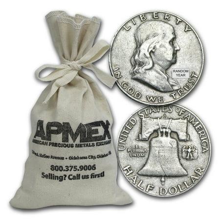 90% Silver Franklin Half-Dollars $100 Face-Value Bag Avg Circ