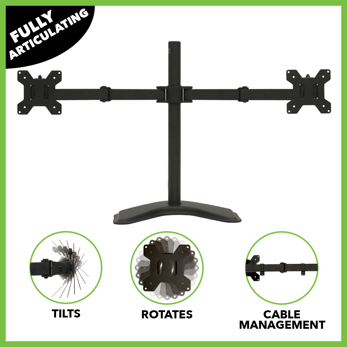 NavePoint Fully Adjustable Dual Monitor Mount Free Stand for 2 LCD LED screens up to 27""
