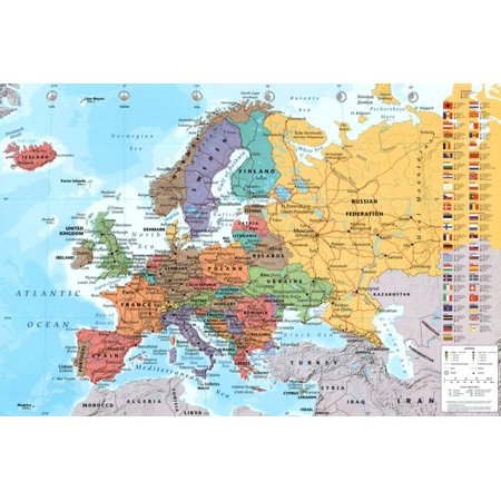 European Map Educational Poster   36X24