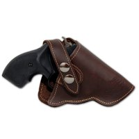 Barsony Right Hand Draw Brown Leather Outside the Waistband Gun Holster Size 2 Charter Arms Rossi Ruger LCR S&W  .22 .38 .357 Revolvers