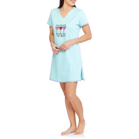 Sun, Moon & Stars Women's Cotton Short Sleeve V-Neck Sleepshirt with Embroidery