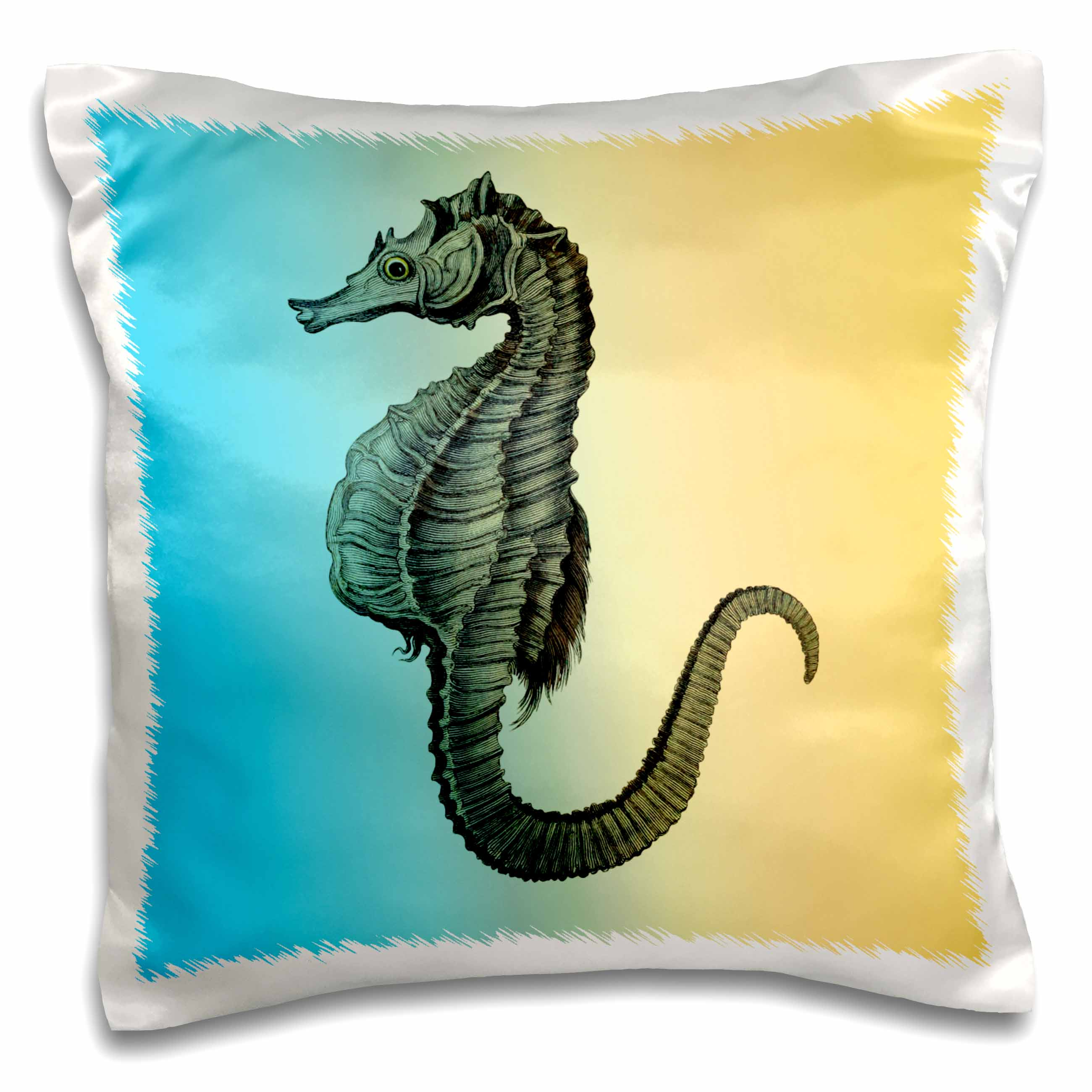 3dRose Aqua and Yellow Nautical Sea Horse - Pillow Case, 16 by 16-inch