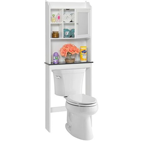 Best Choice Products Modern Contemporary Over-The-Toilet Space Saver for Bathroom w/Adjustable Shelves, Cubbies, Framed Door Panel - (Best Fuel Saver Product)