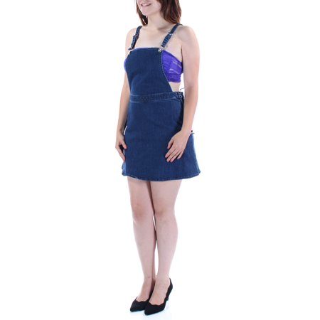 Zip Pencil Skirt - GUESS Womens Blue Side Zip Sleeveless Square Neck Above The Knee Pencil Skirt  Size: 6