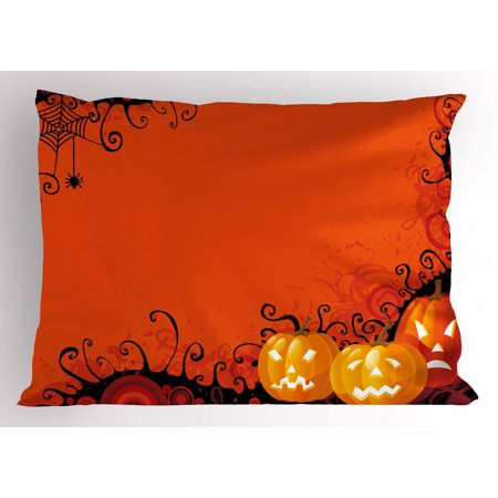 Spider Web Pillow Sham Three Halloween Pumpkins Abstract Black Web Pattern Trick or Treat, Decorative Standard Queen Size Printed Pillowcase, 30 X 20 Inches, Orange Marigold Black, by - Trick Or Treat Halloween Pumpkin
