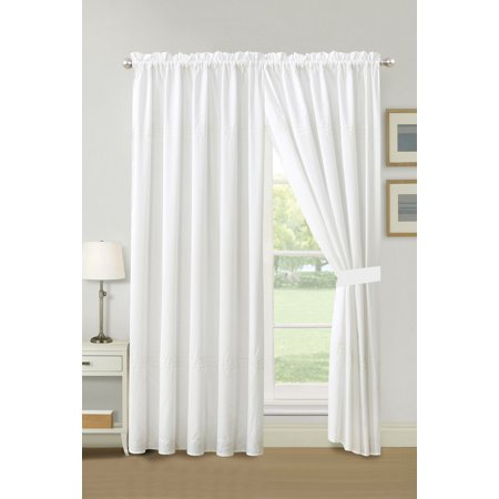 4-Pc Cedar Line Connected Dot Circle Embroidery Curtain Set White Drape Sheer Liner Tiebacks