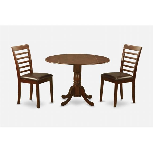 Dublin Metal Dining Chair: East West Furniture DLML3-MAH-LC 3PC Kitchen Round Table