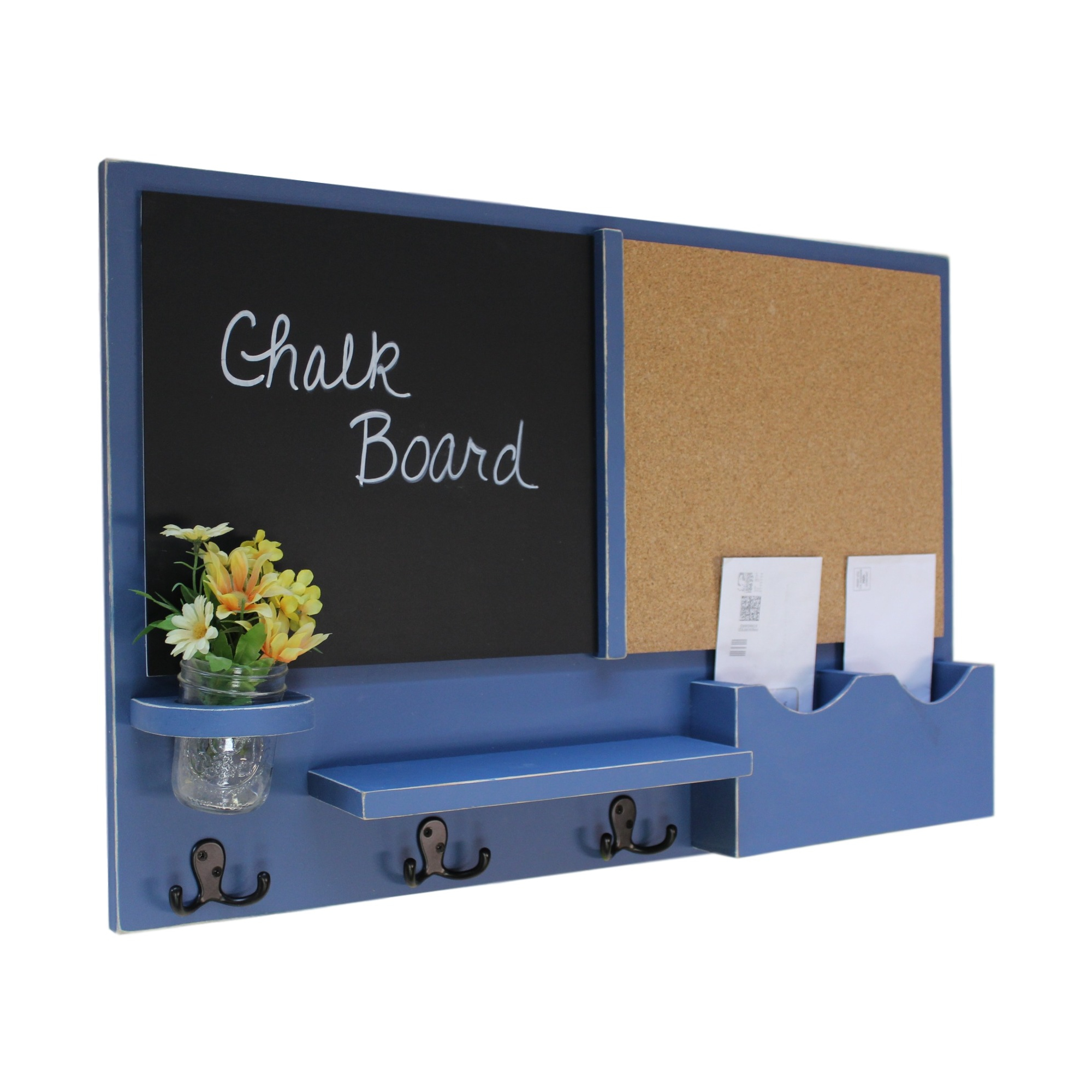 Message Center Chalkboard & Cork Board Letter Holder with Coat Hooks & Mason Jar