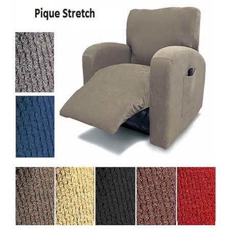Orly's Dream Pique Stretch Fit Furniture Chair Recliner Lazy Boy Cover Slipcover Many Colors Available (Grey) ()