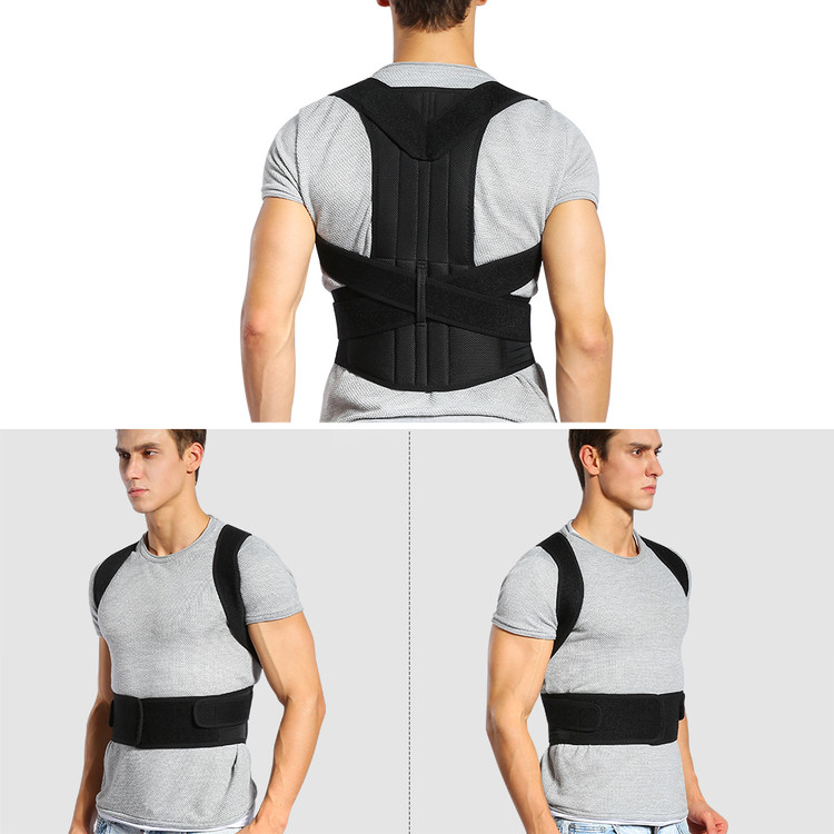 Walfront Corrector Back Brace Support Belts for Upper Back Pain Relief, Adjustable Size with Waist Support Wide Straps Comfortable for Men Women