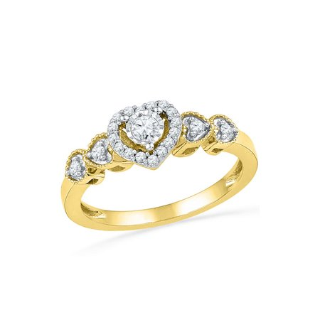 10kt Yellow Gold Womens Round Diamond Solitaire Framed Heart Ring 1/5 Cttw Diamond Fine Jewelry Ideal Gifts For Womens Gift Set From Heart ()
