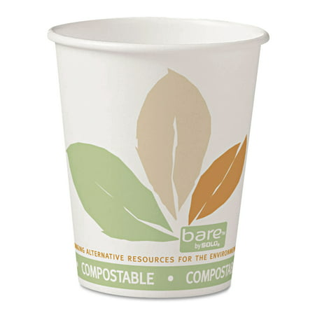 Solo Cup Company Bare White with Leaf Design PLA Paper 10 oz. Hot Cups, 20 Packs of 50, 1000 Cups - Hot Chick Solo