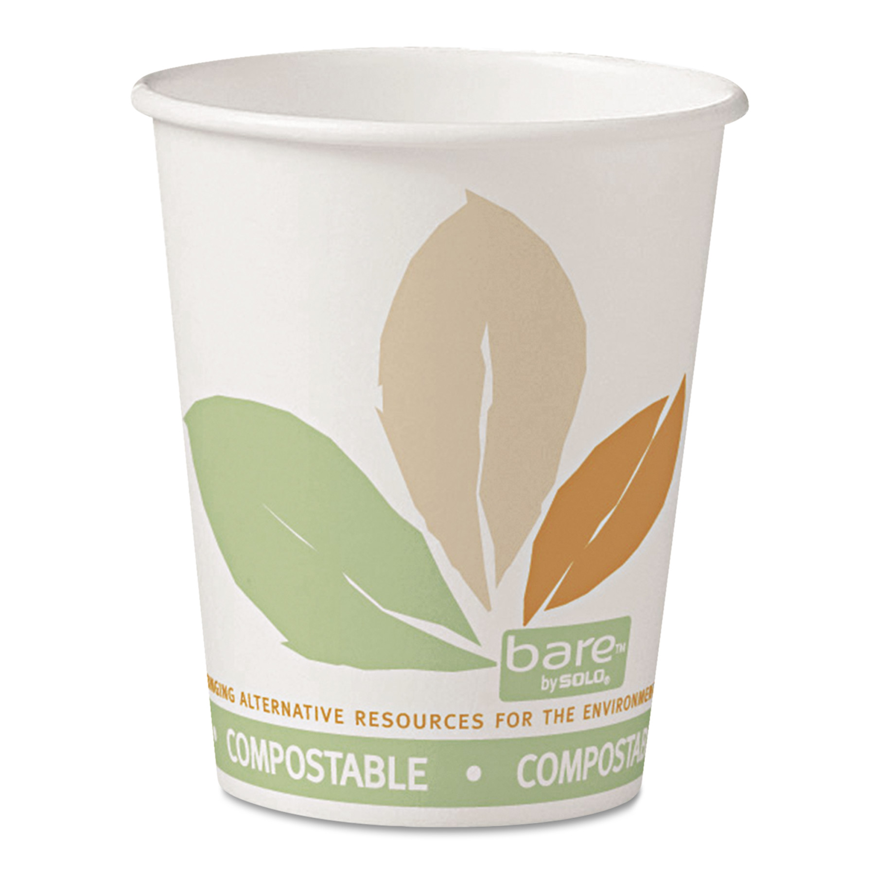 Solo Cup Company Bare White with Leaf Design PLA Paper 10 oz. Hot Cups, 20 Packs of 50, 1000 Cups Total