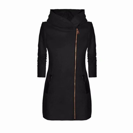 Round Collar Womens Coat - Akoyovwerve Winter Jackets for Women High Collar Zipper Long Sleeve Windproof Coats Black