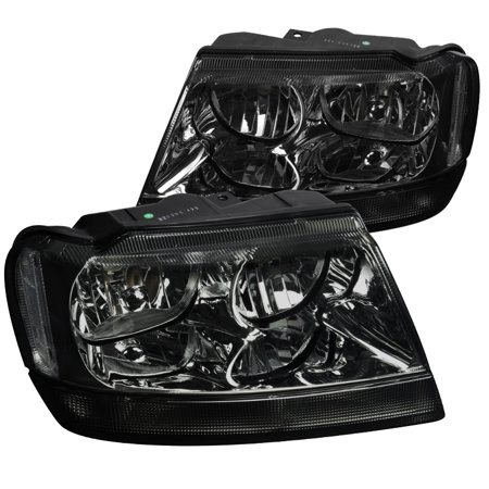 Spec-D Tuning For 1999-2004 Jeep Grand Cherokee Smoke Lens Headlights Tinted Head Lamps Left + Right 1999 2000 2001 2002 2003