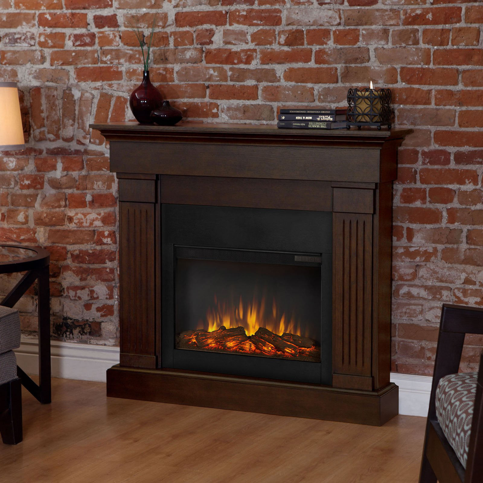 Real Flame Crawford Slim Line Electric Fireplace Chestnut Oak by Real Flame