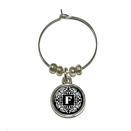 Letter F Initial Black and White Scrolls Wine Glass (Glasses With Initials)