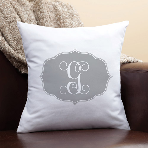 Personalized My Gray Initial Pillow