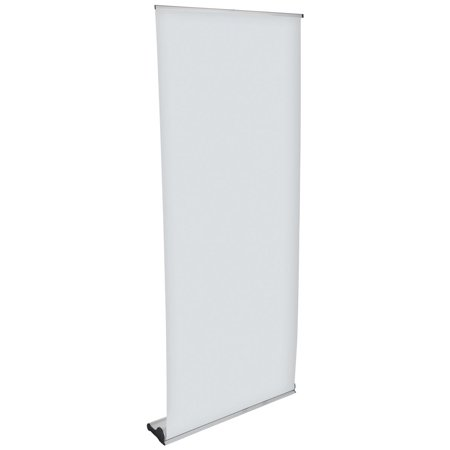 Displays2go Retractable Banner Sign Stands, GRAPHICS SOLD SEPARATELY, Aluminum Construction, Magnetic Base, Telescoping Pole – Silver -