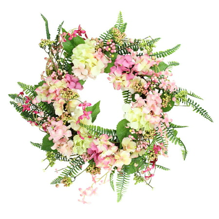 Spring Foliage - Pink and Yellow Hydrangea Artificial Spring Wreath with Green Foliage 20-Inch