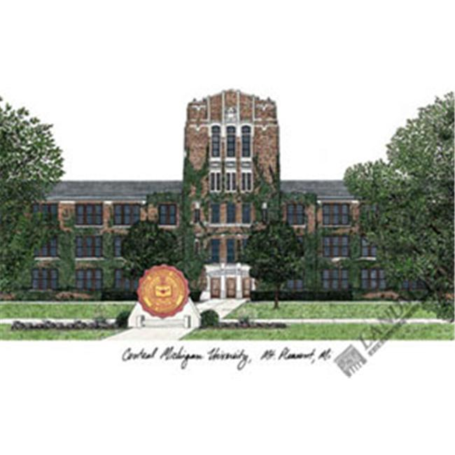 Central Michigan University Campus Images Lithograph Print