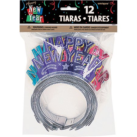 New Year's Glitter Tiaras, 12-Count Assorted