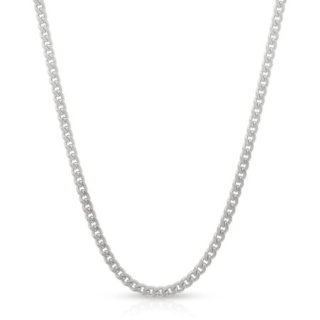 """Sterling Silver Italian 2mm Miami Cuban Curb Link Thick Solid 925 Rhodium Necklace Chain 16"""" - 30"""""""